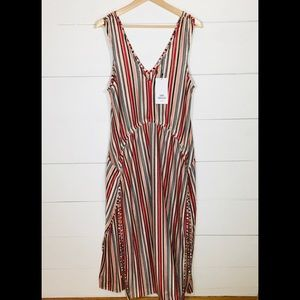ZARA Sheer Striped Maxi Split Side Dress NEW NWT